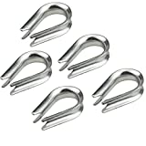 Favordrory 5 PCS M10 Stainless Steel Thimble for 3/8 Inch Diameter Wire Rope