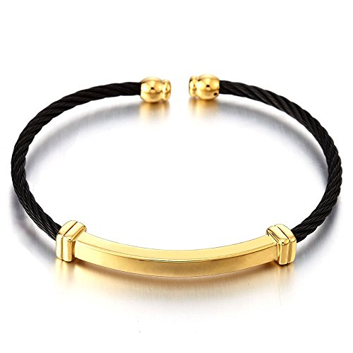 Mens Womens Stainless Steel Thin Twisted Cable Adjustable Cuff Bangle Bracelet Black Gold Two Tone