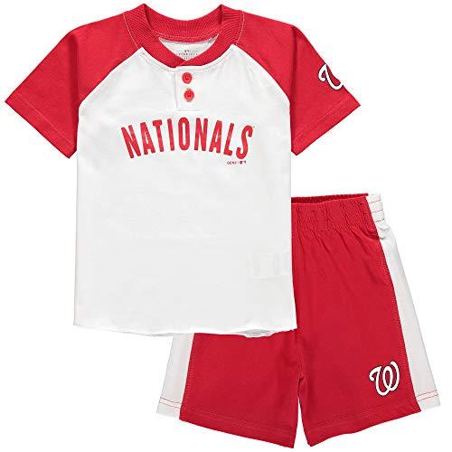 Outerstuff MLB Infants Toddler Good Hit Short Sleeve Henley & Shorts Set (18 Months, Washington Nationals)