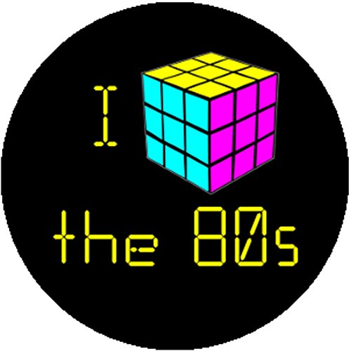 Kids Rubiks Cube Costumes (Color Colorful Fashion Badge Button Pin I Heart the 80s Rubiks Cube Retro Cute)