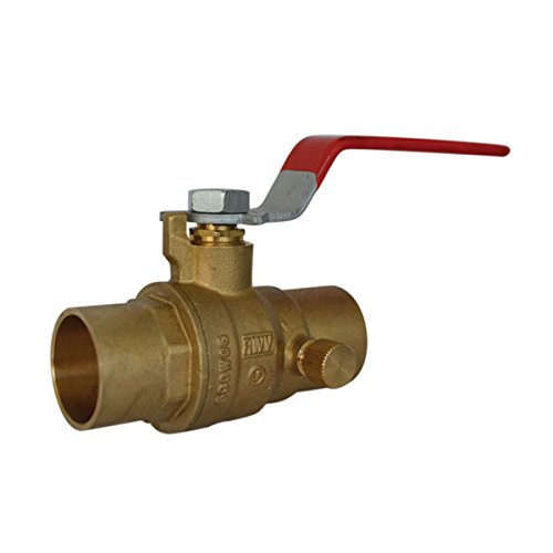 Red-White Valve 1RW5063AB Lead Free Ball Valve with Drain with Solder Ends, 1'' by Red-White Valve