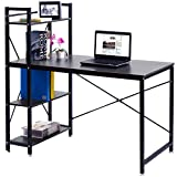 Tangkula Computer Desk, Modern Style Writing Study Table with 4 Tier Bookshelves, Home Office Desk, Compact Gaming Desk, Multipurpose PC Workstation