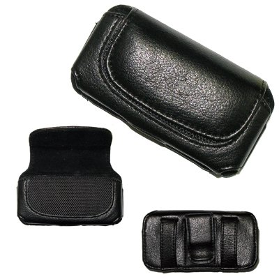 Executive Black Horizontal Leather Side Case Pouch with Belt Clip and Belt Loops for Samsung Reality U820 by Executive