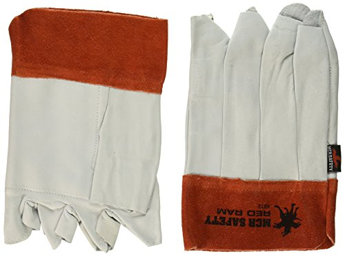 MCR Safety 4812 Red Ram Grain Goatskin Bundlers Fingerless Gloves with Clute Pattern, Size-12 ()