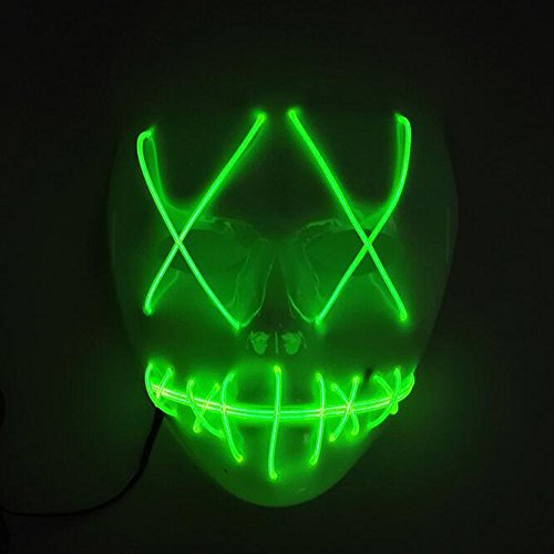 Helengili Frightening EL Wire Halloween Cosplay Led Mask Light Up Mask for Festival Parties 8 Colours (Green)