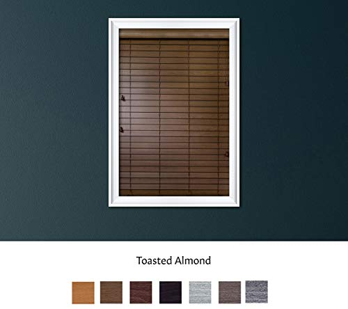 Luxr Blinds Custom Made Premium Faux Wood Horizontal Blinds W/Easy Inside Mount & Outside Mount Wood Blind – Size: 46X70 Inch & Wooden Color: Toasted Almond