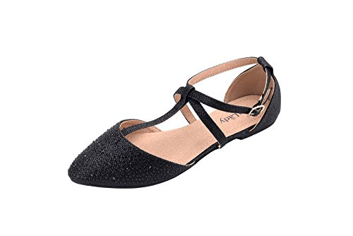 80d5de1ad98 Mila Lady (LAUREL) New Fashion Womens Pointed Toe Ankle Wrap T-strap  D orsay Flats