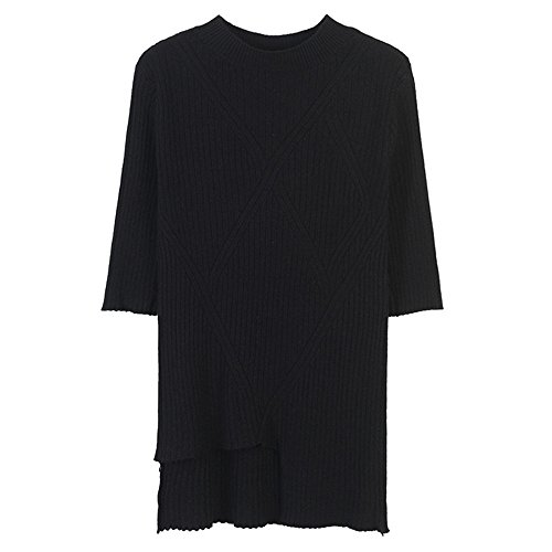 De Corta Xmy shirt Y Oscuro T Negro Tejer Camiseta Manga Sombreado Fino Chica Color Sólido Sau Versátil Video BxFqYFRI