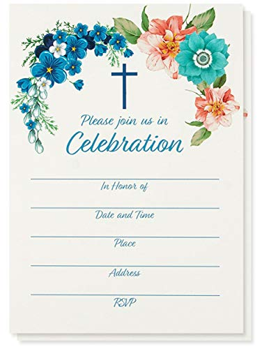 50-Pack Religious Invitations - Christian Invitation Cards, Ideal for Christening, Baptism, Holy Confirmation, Church Events, V-Flap Envelopes Included, 5 x 7 Inches ()