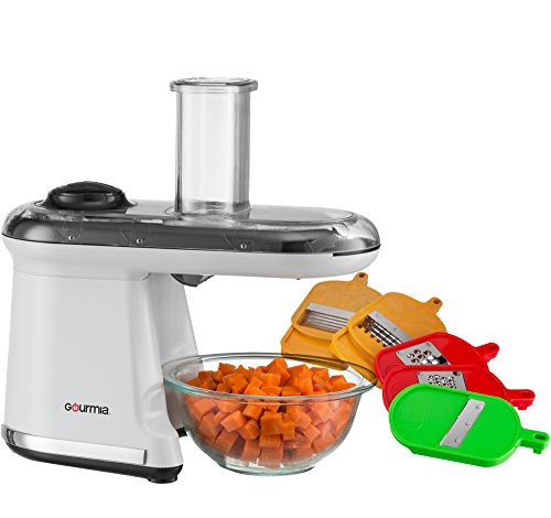 Gourmia GMS-100 Power Dicer Plus Multi-Purpose 5-in-1 Electric Mandoline Food Dicer Chopper Slicer Grater and Shredder, Includes 6 Blades, White (Grater Chopper compare prices)
