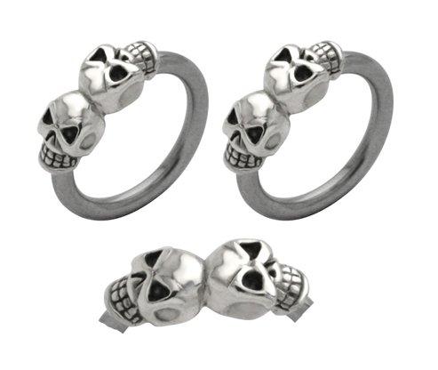 Pair of double 2 skull skeleton Hypoallergenic 316L Stainless Steel Surgical Steel Captive bead Ring lip, belly, nipple, cartilage, tragus, earring body Jewelry piercing hoop - 14 gauge, 3/8