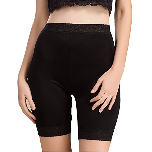 (LingDooo Women 100% Pure Silk Soft Stretchy Boxer Underwear Pants Lace Safety Wear Home Wear Legging Short (M (Tag XL), Black))