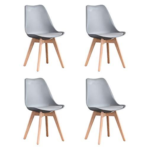 Naturelifestore Pack de 4 sillas de comedor / oficina con madera de haya Piernas Para Comedor / Sala de estar / Cafe / Restaurante, Gris