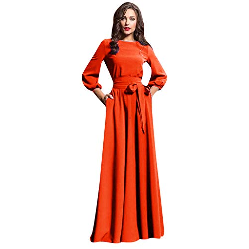 Women Summer Casual Party Dress Lantern Sleeve Solid Long Dresses with Belt Red