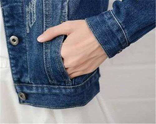 Corto Single Giaccone Tasche Manica Bavero Giacca Breasted Lunga Anteriori Donna Fashion Medium Elegante Autunno Ragazza Cappotto Moda Blue Casual Giacche Jeans Giovane wXq4HY