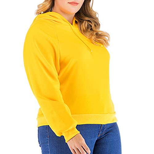 MEEYA Plus Size Long Sleeve Drawstring Hooded Sweatshirt for Women, Solid Causal T-Shirt Round Neck Top Blouse Yellow (Our Lady Of Good Success Statue For Sale)