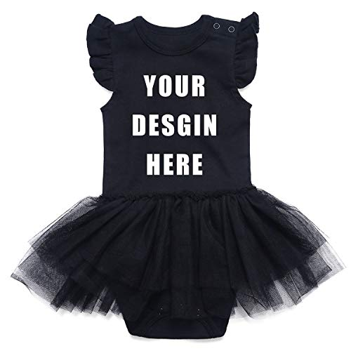 SOBOWO Custom Baby Onesis, Personalized Girl Lace Tutu Dress Bodysuit 0-24 Months (Black, 18-24 Months)]()