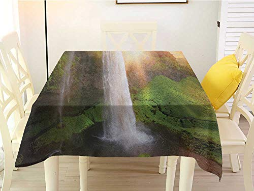 L'sWOW Square Tablecloth Gray Waterfall Waterfalls at Fairy Sunset Sky in Iceland Scenic Spring Rural Wildlife Art Image Multicolor Wrinkle 60 x 60 Inch