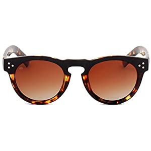 """PRIVÉ REVAUX ICON Collection """"The Warhol"""" Handcrafted Designer Round Polarized Sunglasses (Brown Tortoise/Brown)"""
