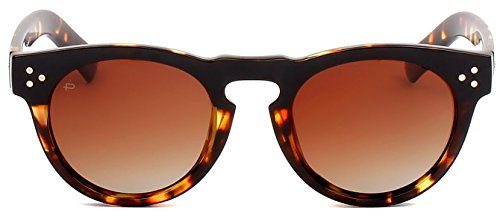 "PRIVÉ REVAUX ICON Collection ""The Warhol"" Handcrafted Designer Round Polarized Sunglasses (Brown Tortoise/Brown)"