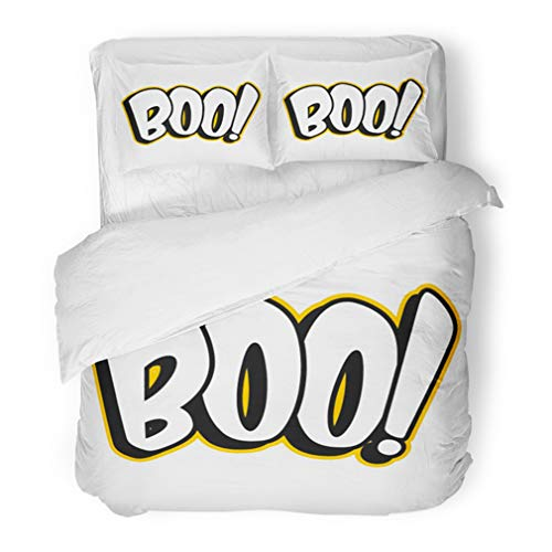 Emvency Bedding Duvet Cover Set Full/Queen (1 Duvet Cover + 2 Pillowcase) Scary Boo Sign Black Celebration Greeting Halloween Holiday White October Hotel Quality Wrinkle and Stain Resistant]()
