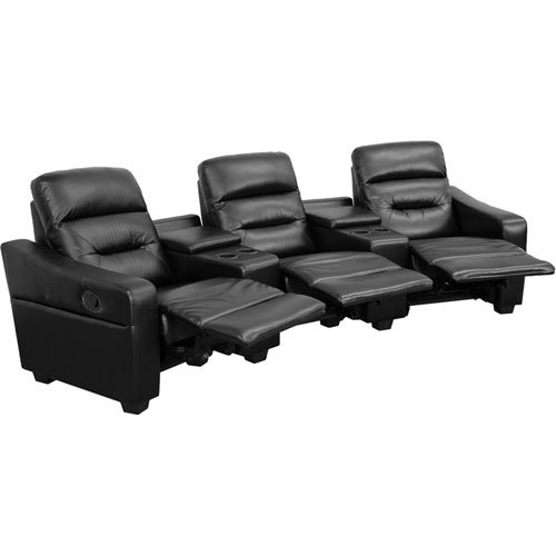 Parkside Fulton 3-Seat Reclining Black Leather Theater Seating Unit with Cup Holders