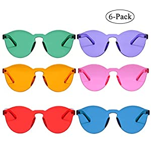 One Piece Rimless Sunglasses Transparent Candy Color Eyewear (6 color)