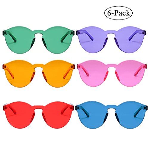 One Piece Rimless Sunglasses Transparent Candy Color Eyewear (6 color) (Sunglasses Rimless)