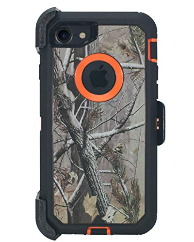 Hand-e Muscle Series Holster Case for Apple iPhone 7/8(NOT Plus) // Triple Layer Protection (Defender) with Screen Protector & Carrying Belt Clip & Kickstand // Drop-Shock-Proof - Camouflage/Orange