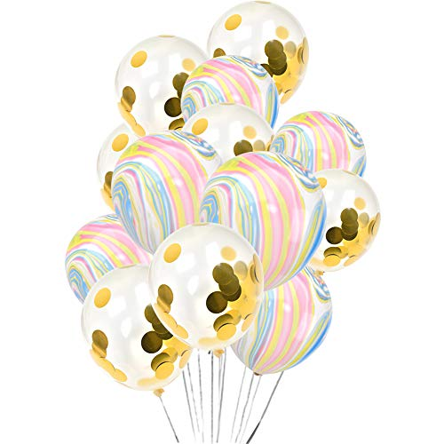 Colorful Marble Agate Balloons & Gold Confetti Balloons Set, 30 PCS 12 Inch Large Latex Balloons for Wedding Party Birthday Party Halloween Christmas Decorations]()
