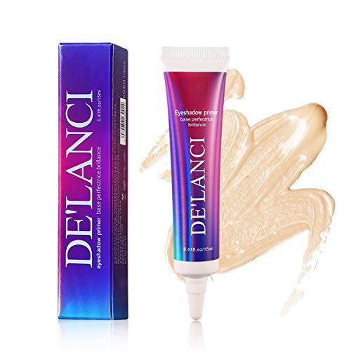 Makeup Glitter Primer Eyeshadow,DE'LANC Professional Eyeshadow Primer Base, Natural Cream White Waterproof Liquid Glitter Lip Primer Glue,Cruelty Free and Vegan