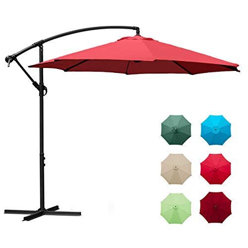 Aoxun 10ft Patio Offset Cantilever Umbrella - Market Umbrellas Outdoor Umbrella with Crank & Cross Base for Garden, Deck,Backyard and Pool (Red)