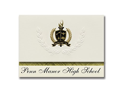 Signature Announcements Penn Manor High School (Millersville, PA) Graduation Announcements, Pack of 25 with Gold & Black Metallic Foil seal, 6.25