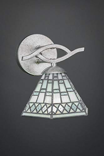 """Toltec Lighting 141-AS-9105 Revo - 7"""" One Light Wall Sconce, Aged Silver Finish with Pewter Tiffany Glass"""