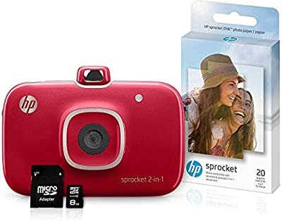 HP Sprocket Portable Photo Printer (black) with ZINK Sticky-Backed Photo Paper