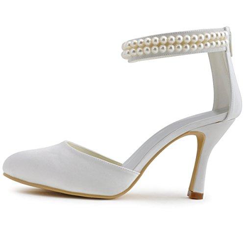 Chaine AJ3065 Ferme Bout Chaussures Ivoire Satin Mariage Talon Femme Pumps Elegantpark Eclair de Fermeture Aiguille Perle wAx4qqHdY