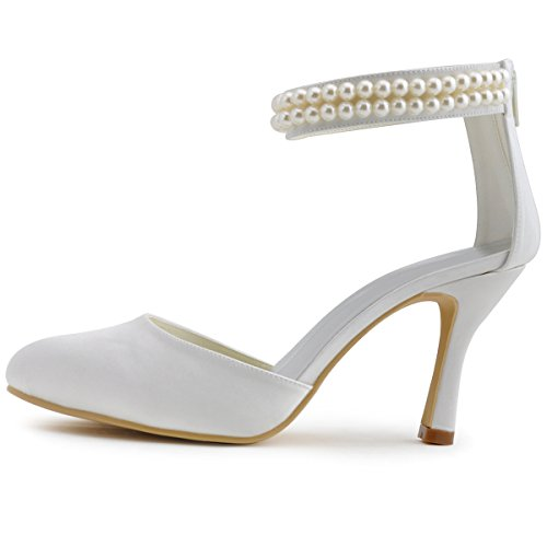 Wedding AJ3065 Elegantpark Pearls Women Ivory High Heel Pumps 10 Shoes Ankle US Strap Toe Closed Satin PBBW1cdq