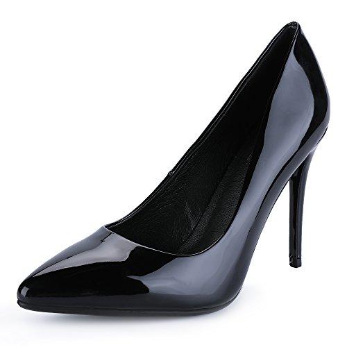 Toe Heels Dress Pointed - IDIFU Women's IN4 Classic Pointed Toe Stiletto High Heel Dress Pump (8.5 B(M) US, Black Patent)