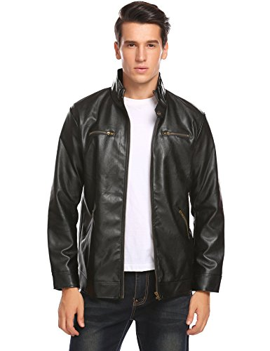 COOFANDY Men's Leather Jacket Black Stand Collar Fashion Motorcycle Coat