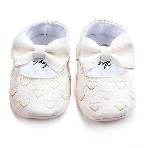 Dooxi Bebé Niña Moda Bowknot Princesa Zapatos Antideslizante Suela Blanda Sandalias Blanco