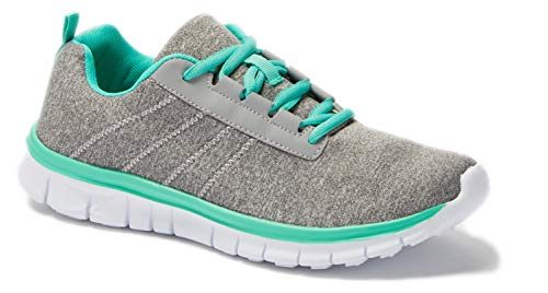 - Womens Sneakers Athletic Knit Mesh Running Light Weight Go Easy Walking Casual Comfort Running Shoes 2.0 (8, Grey and Green)