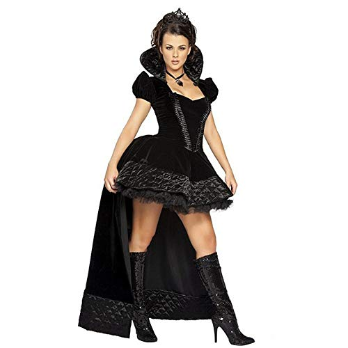 LVLUOYE Role-Playing, Fairy Tale, Vicious Black Queen, Costume, Halloween Party Game, Magic Dress, Queen Dress,One Size ()