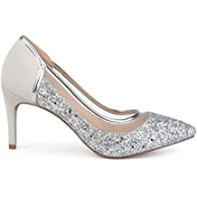 Brinley Co. Womens Kori Faux Suede Mesh Glitter Almond Toe Heels