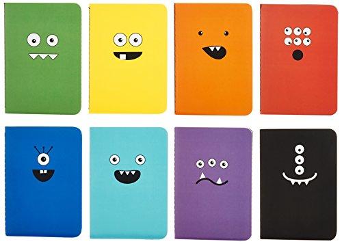 """International Arrivals Pocket Pal Journal, Pack of 8, 3.5"""" x 5"""", Monster Tales (118-MT)"""