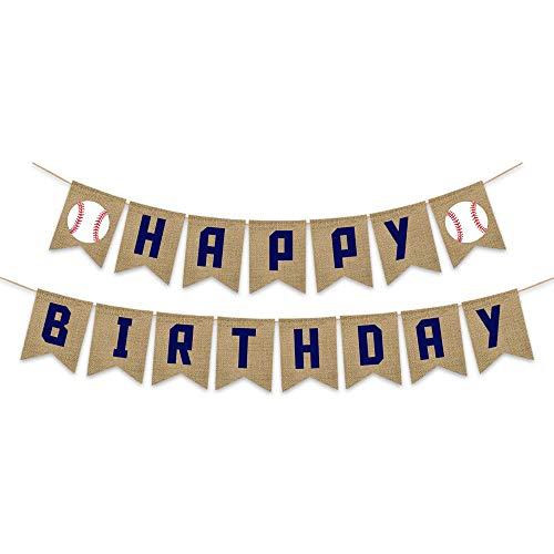 Burlap Baseball Theme Happy Birthday Banner Boy Birthday Party Rustic -