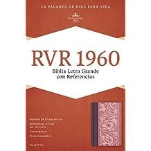 RVR 1960 Biblia Letra Grande con Referencias, borravino/rosado simil piel