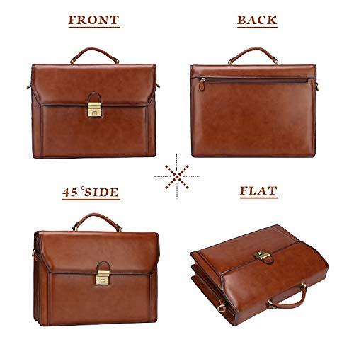 49bbc521afb9 Banuce Vintage Genuine Leather Briefcase for Men Lock Lawyer Attache Case  Laptop Messenger Bag