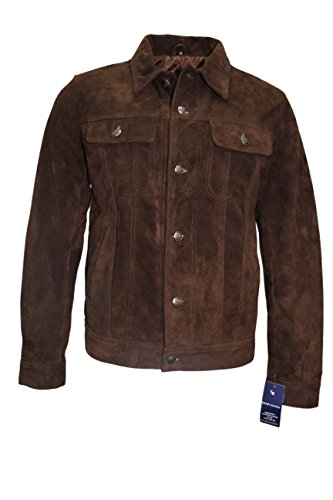 Trucker Mens 1280 Brown Classic Western Real Soft Genuine Suede Leather Jacket Shirt ()