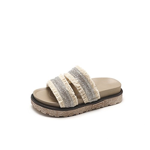 Women's Bottom Easy Low Sandal Slide Slip pit4tk Open Shoe Platform Casual On Comfort Flat Toe C C Beige Sandal qdRw1nzx