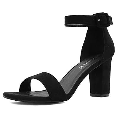 Allegra K Women's Chunky High Heel Ankle Strap Sandals (Size US 4.5) Black
